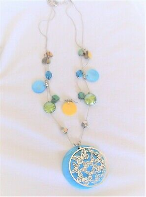 £3.26 • Buy DoubleStrand Necklace With Shell & Acrylic Beads & Laser Cut Butterflies Pendant