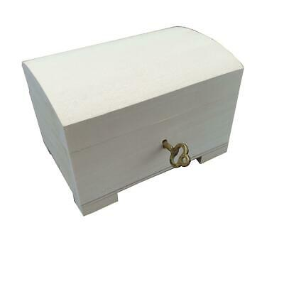 Wooden Jewellery Small Chest Closed For Key, Unpainted • 10.99£