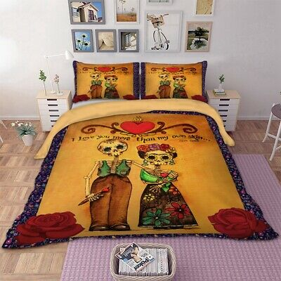 Skull Couple Duvet Quilt Cover Gothic Bedding Set Pillowcases Single Double King • 26.67£