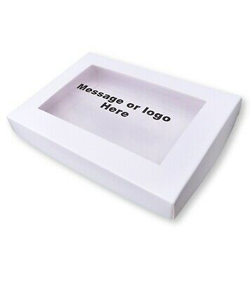 A6 White Box Personalised Window Logo / Message Greetings Cards Gifts • 1.75£