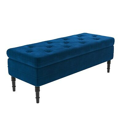 Safina Ottoman Storage Bench In Navy Blue Velvet With Button Detail SAF056 • 186.97£