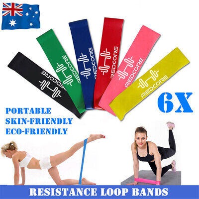 AU8.99 • Buy 6X Resistance Loop Bands Exercise Men Women Legs Arms Booty Yoga Physio Gym Set