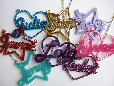 Name Necklace, Personalised, Laser Cut, Heart/star, Funky, By Dotty Flamingo • 11.20£