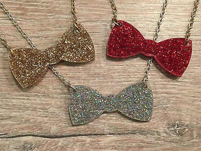 Glitter Acrylic Bowtie Necklace. Cool, Funky, Laser Cut. • 7£