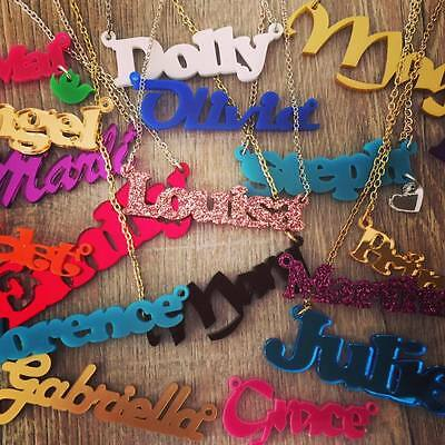 Personalised Name Necklace, Custom Design, Acrylic/plastic, Laser Cut, Funky • 10.20£