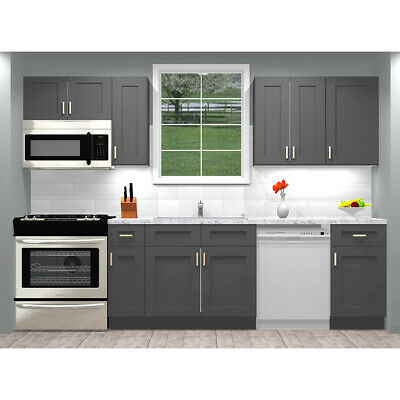 $1289 • Buy Lily Ann Cabinets RTA 10 Foot Run Birch Wood Kitchen Cabinets Grey Shaker Elite