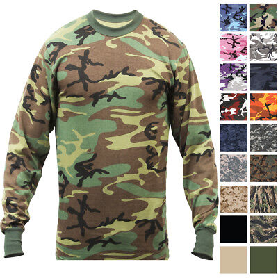 $13.99 • Buy Camo Long Sleeve T-Shirt Tactical Military Crew Tee Undershirt Army Camouflage