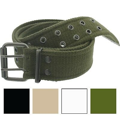 $12.99 • Buy Military Double Prong Canvas Belt, Heavy Duty Army Pistol Grommet Two Hole 1.75