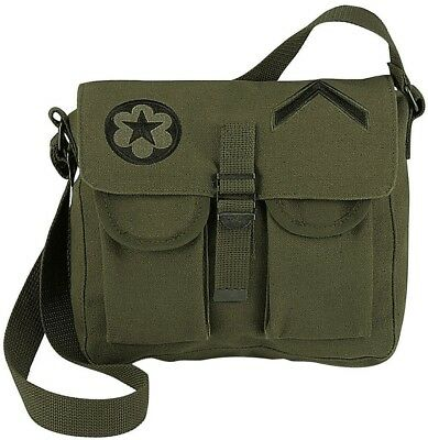 $13.99 • Buy Olive Drab Military Canvas Ammo Shoulder Bag W/ Patches