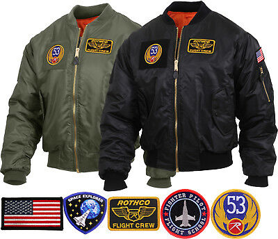 $62.99 • Buy Mens Military Air Force Style MA-1 Flight Jacket With 5 Removable Patches