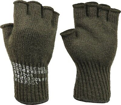 $12.99 • Buy Olive Drab Tactical Fingerless Military Glove Liner Inserts Wool Gloves USA Made