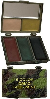 £6.59 • Buy 5 Color Camouflage Face Paint With Case & Mirror