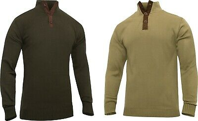 $42.99 • Buy Men 3-Button Military Sweater With Suede Accents Three Button Top Cold Weather