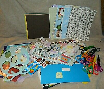 $24.99 • Buy HUGE Lot Of Scrapbook And Crafting Supply Embellishments~Stickers~Paper~Scissors
