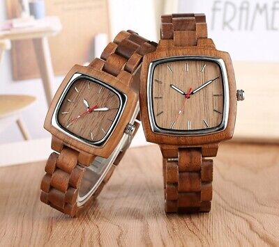 Natural Wood Wristwatch - His & Hers Square Wooden Watch  • 69.99£