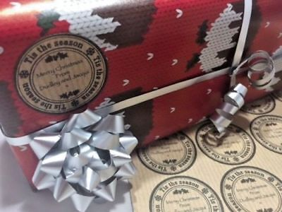 Personalised Kraft Gift Tags,Various Christmas Designs, Present Label Stickers • 2.40£