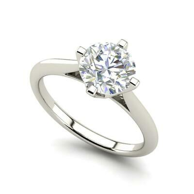 $1701.70 • Buy 4 Claw Solitaire 0.5 Carat VVS2/F Round Cut Diamond Engagement Ring White Gold