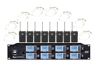 8 Mic Headset Wireless Microphone System 8 Channel Cordless Microphone Mic Set • 395.54£