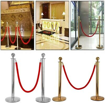 2× Queue Barrier Posts Crowd Control Security Stanchion W/1.5m Rope Gold/Sliver • 57.99£