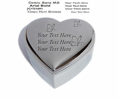 Personalised Heart Trinket Jewellery Box With Butterflys - Engraved & Free P&P • 11.50£