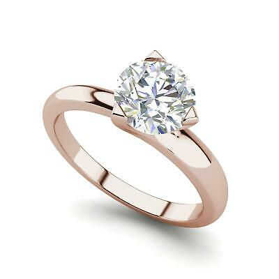 $1705 • Buy Solitaire 0.5 Carat VVS2/F Round Cut Diamond Engagement Ring Rose Gold