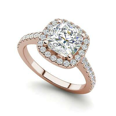 $1090.10 • Buy Halo Pave 0.95 Carat VS2/H Round Cut Diamond Engagement Ring Rose Gold