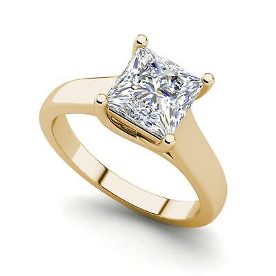 $1001 • Buy Solitaire 0.5 Carat VS2/D Princess Cut Diamond Engagement Ring Yellow Gold