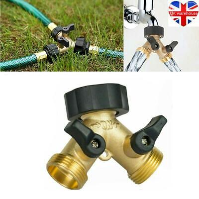 Hose Pipe Valve Splitter Quick Connector Adaptor Y-shaped Garden Tap 2 Way Brass • 7.59£