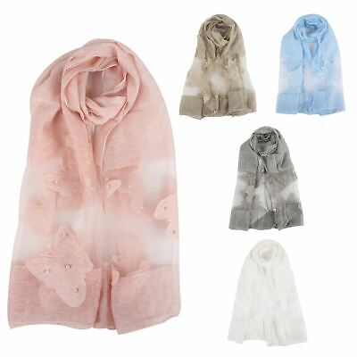 Womens Silk Organza Butterfly Printed Pearl Mesh Border Neck Wrap Up Head Scarf • 6.99£
