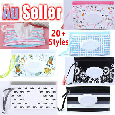 AU8.99 • Buy Baby Wet Wipes Bag Clean Carrying Case Clamshell Cosmetic Pouch Container Holder
