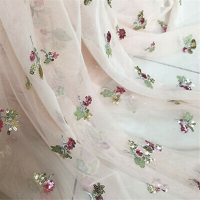 £9.99 • Buy Beaded Costume Evening Dress Lace Fabric Flowers Dancing Show Wear Tulle 0.5 M
