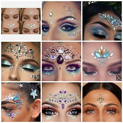 £4.31 • Buy FACE GEMS Tattoo Sticker Adhesive Glitter Jewel Festival Rave Party Body Make Up