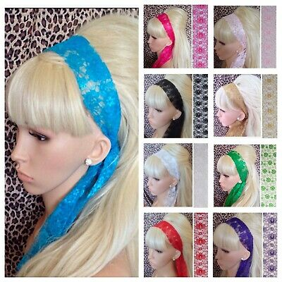 £2.99 • Buy New FLORAL LACE FABRIC SELF TIE BOW HAIR SCARF HEAD BAND RETRO 60s 80s HEADBAND