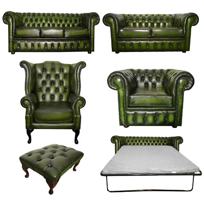 £559.99 • Buy Genuine Leather Antique Green Chesterfield Sofa Settee 3 Seater Armchair Stool