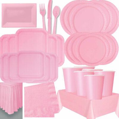 £2.55 • Buy Plain Pink Colour Tableware Table Cover Napkins Plates Cups Christmas Party