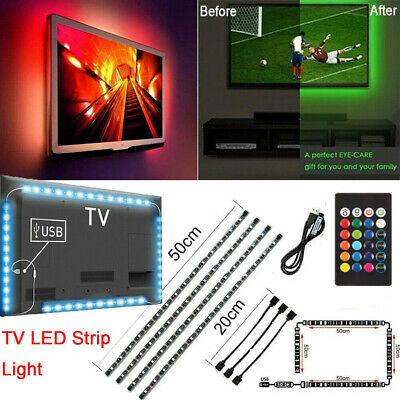 $9.98 • Buy TV LED Backlight 4 X 50CM USB 5050 RGB LED Strip Light Remote Kit 5V 30Leds/M