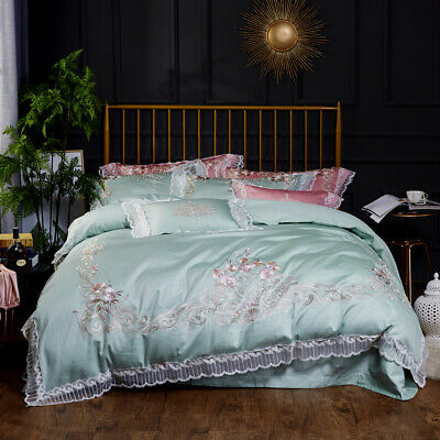 $178 • Buy Bedding Set 4pcs Pure Cotton Embroidery Lace Duvet Cover Bed Sheet Pillowcases