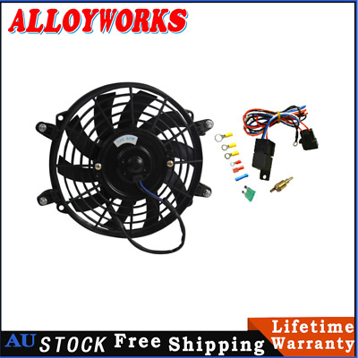 AU64 • Buy 9  PULL/PUSH RADIATOR ELECTRIC THERMO CUEVED BLADE FAN MOUNTING KIT+Thermostat