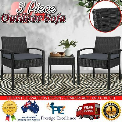 AU225.97 • Buy 3 Piece Outdoor Sofa Setting Furniture Cushion Seat Rattan Chair Glass Table Top