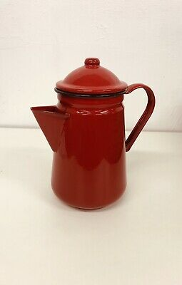 £17.99 • Buy Falcon Red Enamel Tall Coffee Pot With Handle & Lid Tea Teapot - Camping