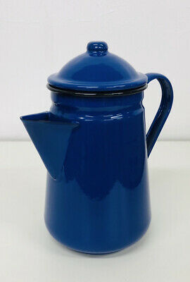 Falcon Blue Enamel Tall Coffee Pot With Handle & Lid Tea Teapot - Camping • 17.99£