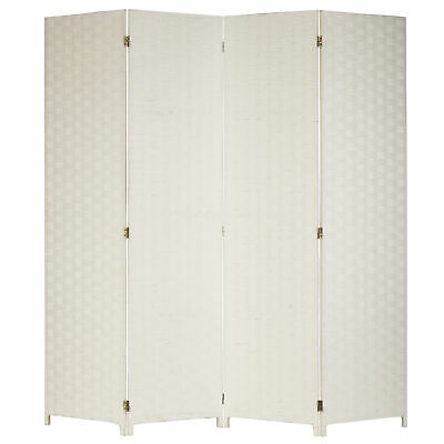 $99.99 • Buy Shabby Chic 4-Panel Woven Seagrass Partition Room Divider/Privacy Screen, White
