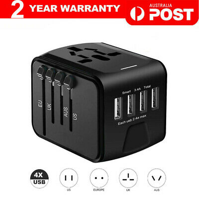 AU27.90 • Buy International Universal Travel Adapter 4 USB 2.4A Charger AC Power
