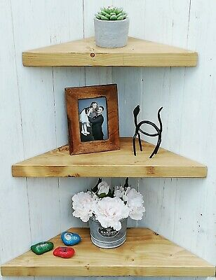 £26 • Buy Chunky Rustic Wooden Solid Wood Floating Corner Shelf 3 Larger Sizes /10 Colours