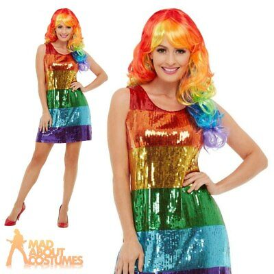 Ladies Rainbow Glitter Costume 80s Pride Womens Adults Fancy Dress Outfit  • 17.99£