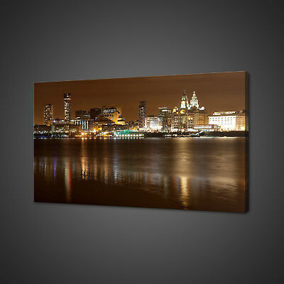 £29.99 • Buy Liverpool Night Cityscape Panorama Canvas Print Wall Art Picture Photo