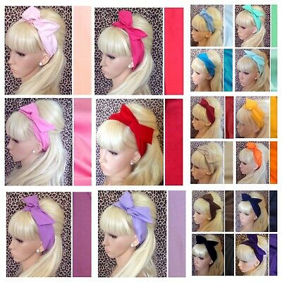 £3.99 • Buy PLAIN COTTON FABRIC BENDY WIRED BOW WIRE HAIR SCARF HEAD BAND RETRO 50s HEADBAND