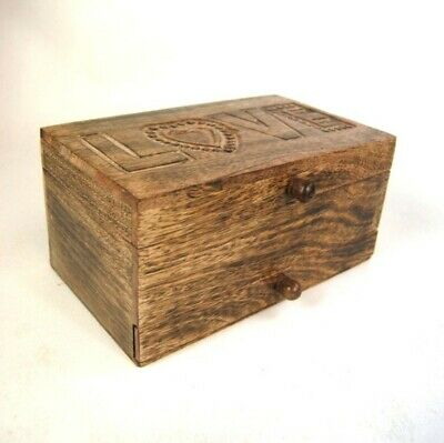 Jewellery Box Large Wooden Storage Box Handcarved LOVE With Drawer & Compartment • 42.99£