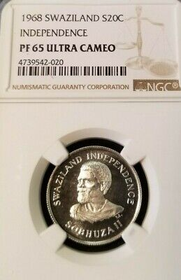 $75 • Buy 1968 Swaziland Silver 20 Cents Independence Ngc Pf 65 Ultra Cameo Frosty Coin