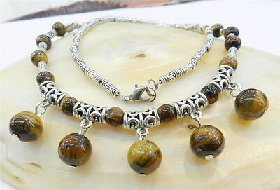 £2.19 • Buy Lovely Real Natural Tiger's Eye Round Beads Pendants & Tibet Silver Necklace 18